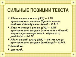 СИЛЬНЫЕ ПОЗИЦИИ ТЕКСТА Абсолютное начало (АН) – 15% прочитанного текста (врем