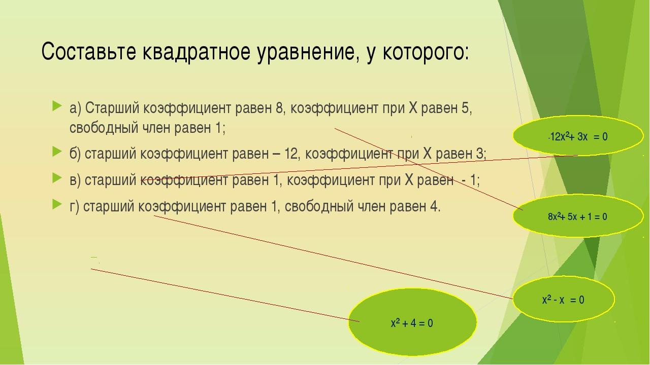 Составьте квадратное уравнение, у которого: а) Старший коэффициент равен 8, к...