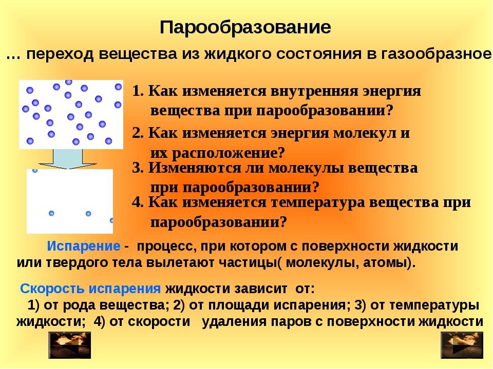 … переход вещества из жидкого состояния в газообразное 2. Как изменяется энер...