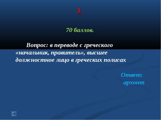 3. 70 баллов. Вопрос: в переводе с греческого «начальник, правитель», высшее...