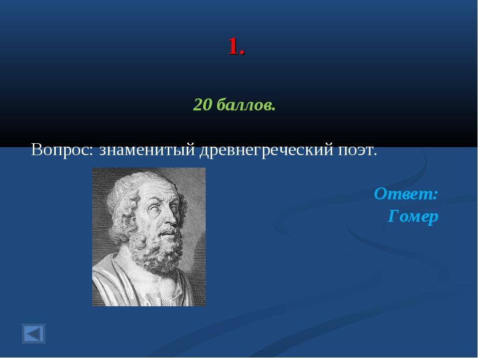 1. 20 баллов. Вопрос: знаменитый древнегреческий поэт. Ответ: Гомер