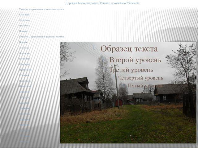 Деревня Александровка. Раньше проживало 25 семей: Улановы – проживают в нас...