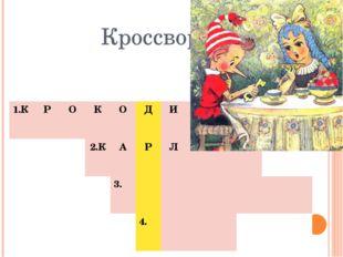 Кроссворд 1.К Р О К О Д И Л 2.К А Р Л С О Н 3. 4.