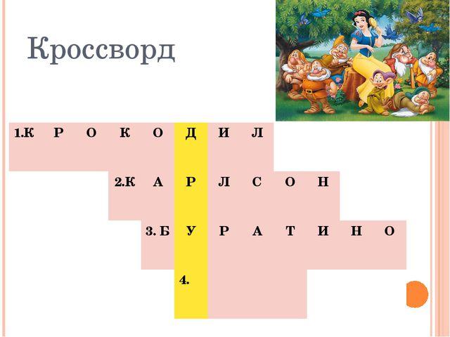 Кроссворд 1.К Р О К О Д И Л 2.К А Р Л С О Н 3. Б У Р А Т И Н О 4.