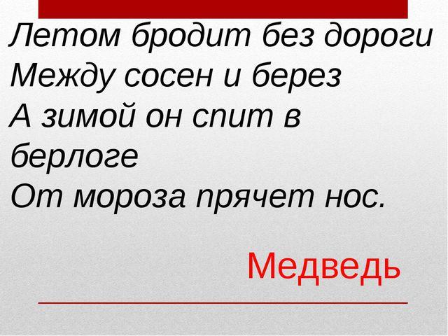 Летом бродит без дороги Между сосен и берез А зимой он спит в берлоге От моро...