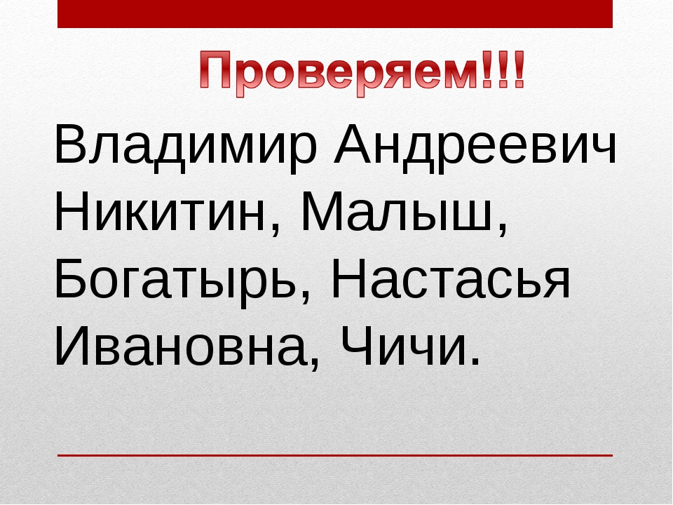 Владимир Андреевич Никитин, Малыш, Богатырь, Настасья Ивановна, Чичи.