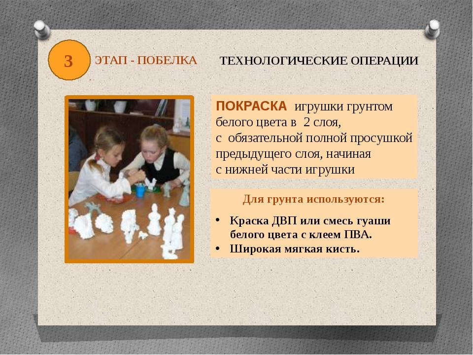 3 ЭТАП - ПОБЕЛКА ТЕХНОЛОГИЧЕСКИЕ ОПЕРАЦИИ ПОКРАСКА игрушки грунтом белого цве...