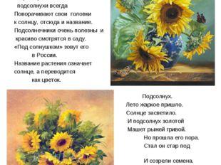 Подсолнух – жизнерадостный цветок Подсолнух - один из самых жизнерадостных цв