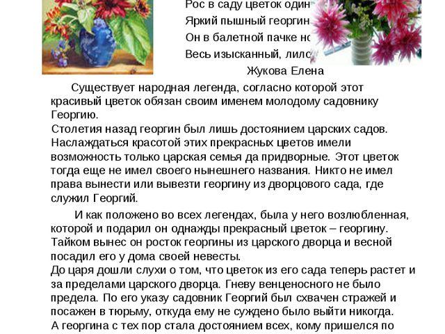 Георгин - символ всепобеждающей силы жизни. Рос в саду цветок один, Яркий пы...