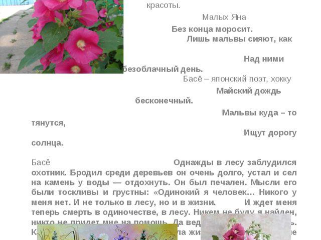 Мальва - счастливая звезда Красавица - мальва под окном цветёт, Нежно улыбает...
