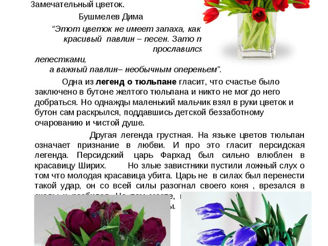 Тт тюльпан – признание в любви Тюльпаны выросли в саду. На праздник маме я со...