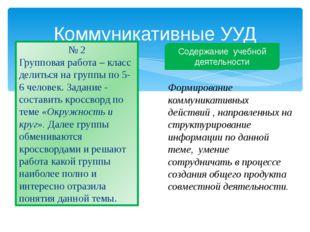 Коммуникативные УУД № 2 Групповая работа – класс делиться на группы по 5-6 че