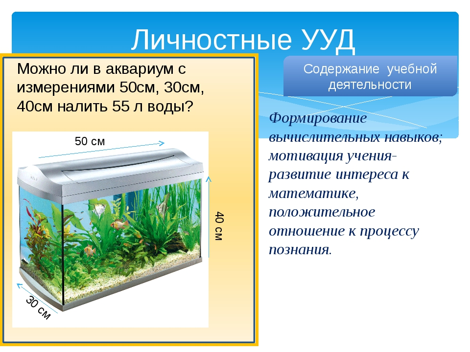 Личностные УУД Можно ли в аквариум с измерениями 50см, 30см, 40см налить 55 л...