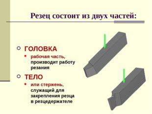 ТЕЛО или стержень, служащий для закрепления резца в резцедержателе Резец сост