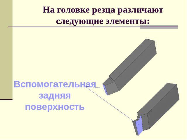На головке резца различают следующие элементы: Вспомогательная задняя поверхн...