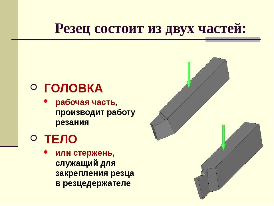 ТЕЛО или стержень, служащий для закрепления резца в резцедержателе Резец сост...