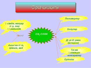 Сірке қышқылы кездесуі қолданылуы СН3 СООН Полимерлер Бояулар Дәрі-дәрмек (ас