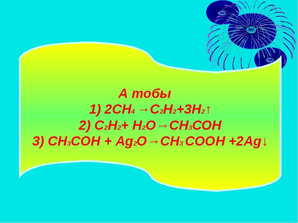 А тобы 1) 2CH4 →C2H2+3H2↑ 2) C2H2+ H2O→CH3CОН 3) CH3CОН + Ag2O→CH3 CООН +2Ag↓