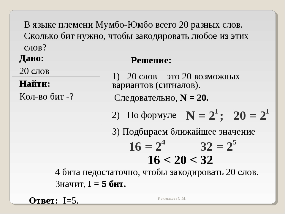 В языке племени Мумбо-Юмбо всего 20 разных слов. Сколько бит нужно, чтобы зак...