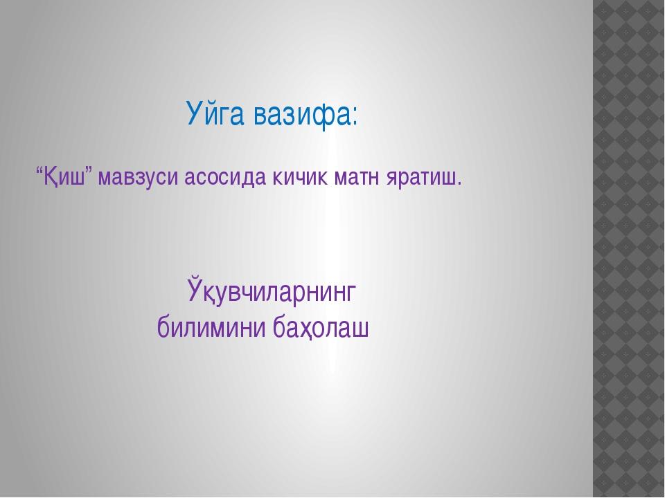 """Уйга вазифа: """"Қиш"""" мавзуси асосида кичик матн яратиш. Ўқувчиларнинг билимини..."""