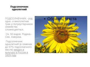 Подсолнечник однолетний ПОДСОЛНЕЧНИК - род одно- и многолетних трав и полукус