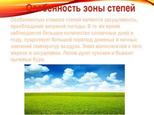 Особенность зоны степей Особенностью климата степей является засушливость, пр