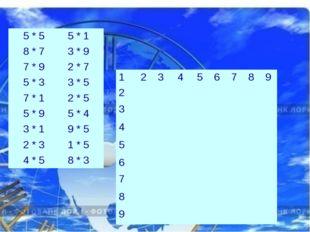 5 * 5 5 * 1 8 * 7 3 * 9 7 * 9 2 * 7 5 * 3 3 * 5 7 * 1 2 * 5 5 * 9  5 *