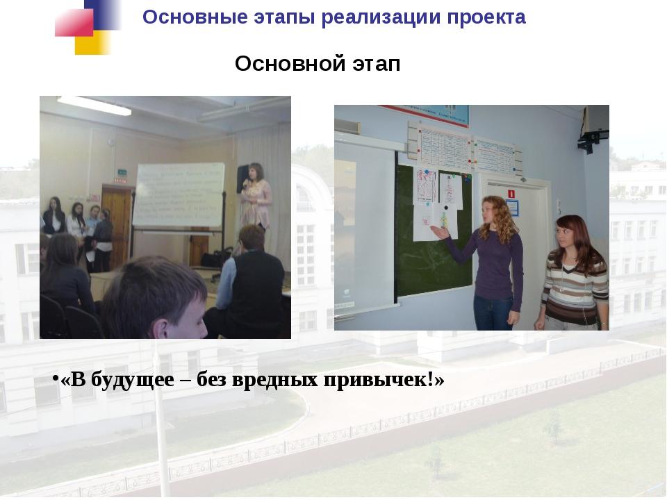 Основные этапы реализации проекта Основной этап «В будущее – без вредных прив...