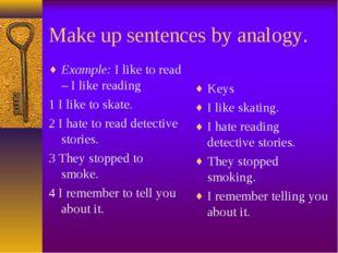 Make up sentences by analogy. Example: I like to read – I like reading 1 I li