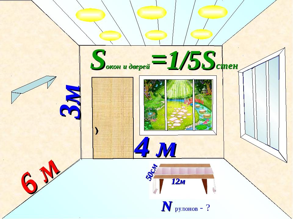 3м 6 м 4 м Sокон и дверей=1/5Sстен 50см 12м N рулонов - ?