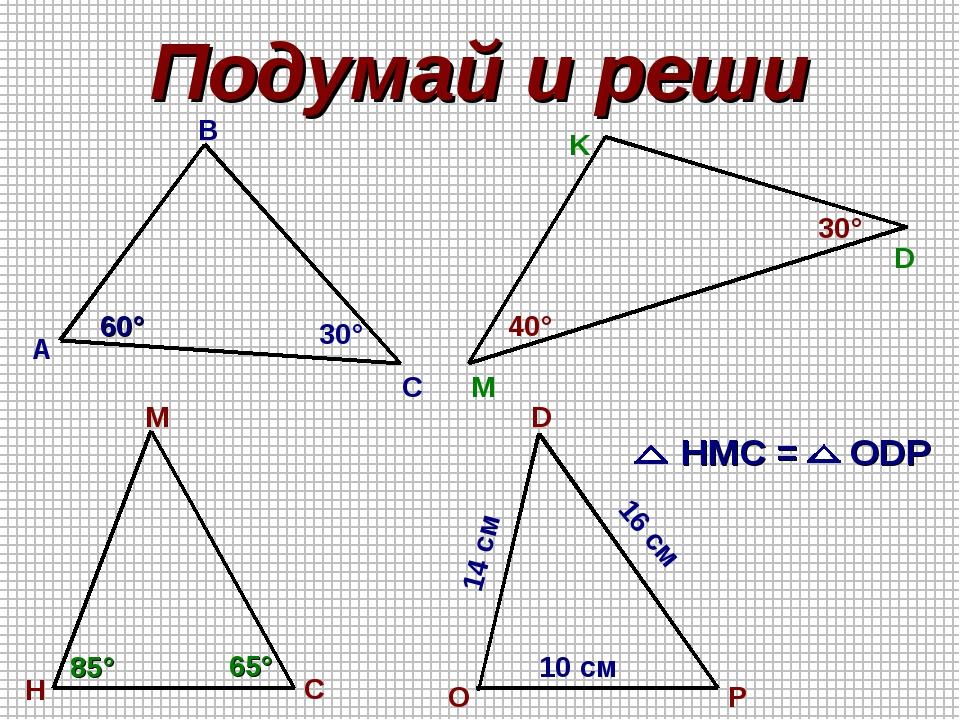 Подумай и реши А B C M K D H C M O D P 60° 30° 40° 30° HMC = ODP 85° 65° 10 с...