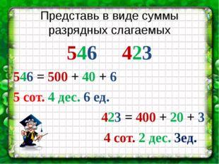 Представь в виде суммы разрядных слагаемых 546 423 546 = 500 + 40 + 6 5 сот.