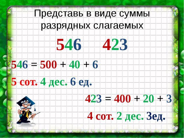 Представь в виде суммы разрядных слагаемых 546 423 546 = 500 + 40 + 6 5 сот....