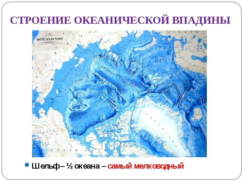 СТРОЕНИЕ ОКЕАНИЧЕСКОЙ ВПАДИНЫ Шельф – ½ океана – самый мелководный
