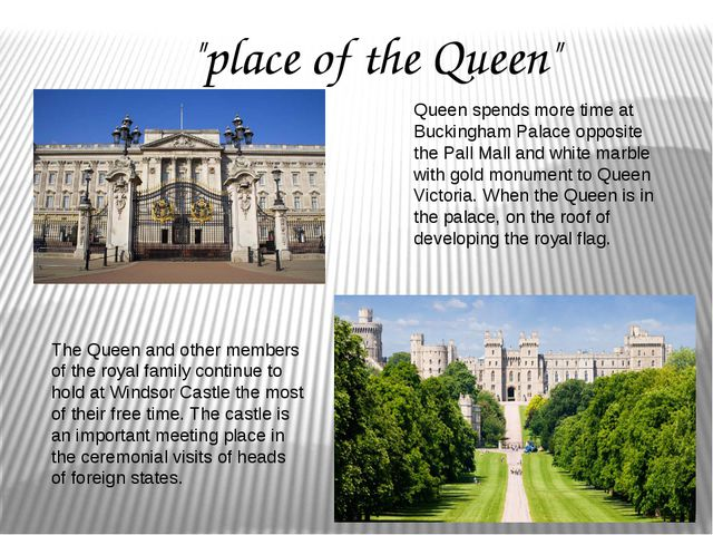 Queen spends more time at Buckingham Palace opposite the Pall Mall and white...