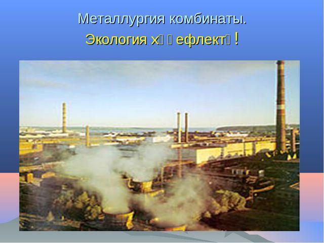 Металлургия комбинаты. Экология хәүефлектә!