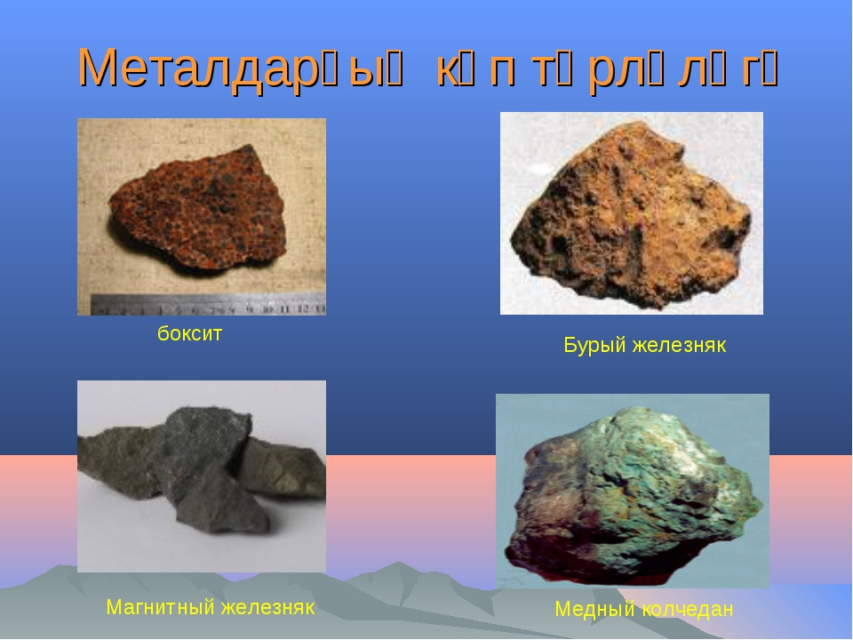 Металдарҙың күп төрлөлөгө Медный колчедан Магнитный железняк боксит Бурый же...