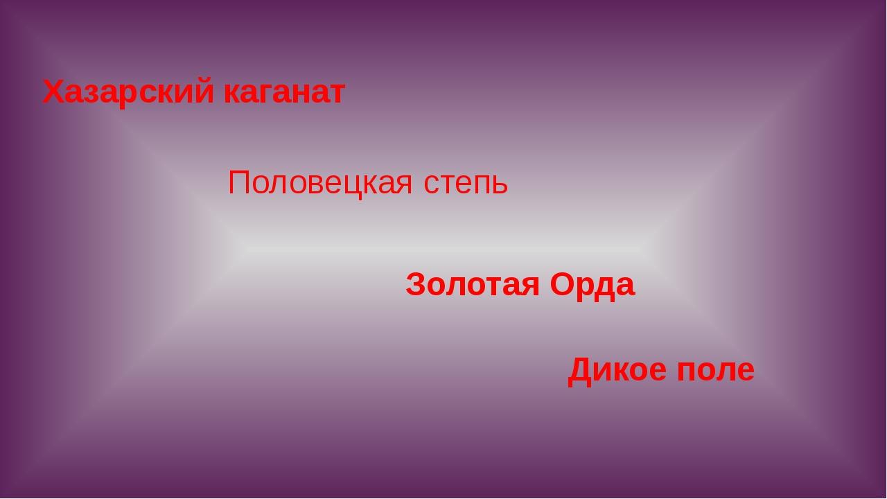 Хазарский каганат Золотая Орда Половецкая степь Дикое поле
