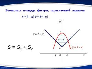 Вычислите площадь фигуры, ограниченной линиями y = 3 – x2, y = 1+ | x | y = 1