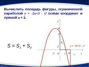 Вычислить площадь фигуры, ограниченной параболой y = -2x+3 - x2 осями координ
