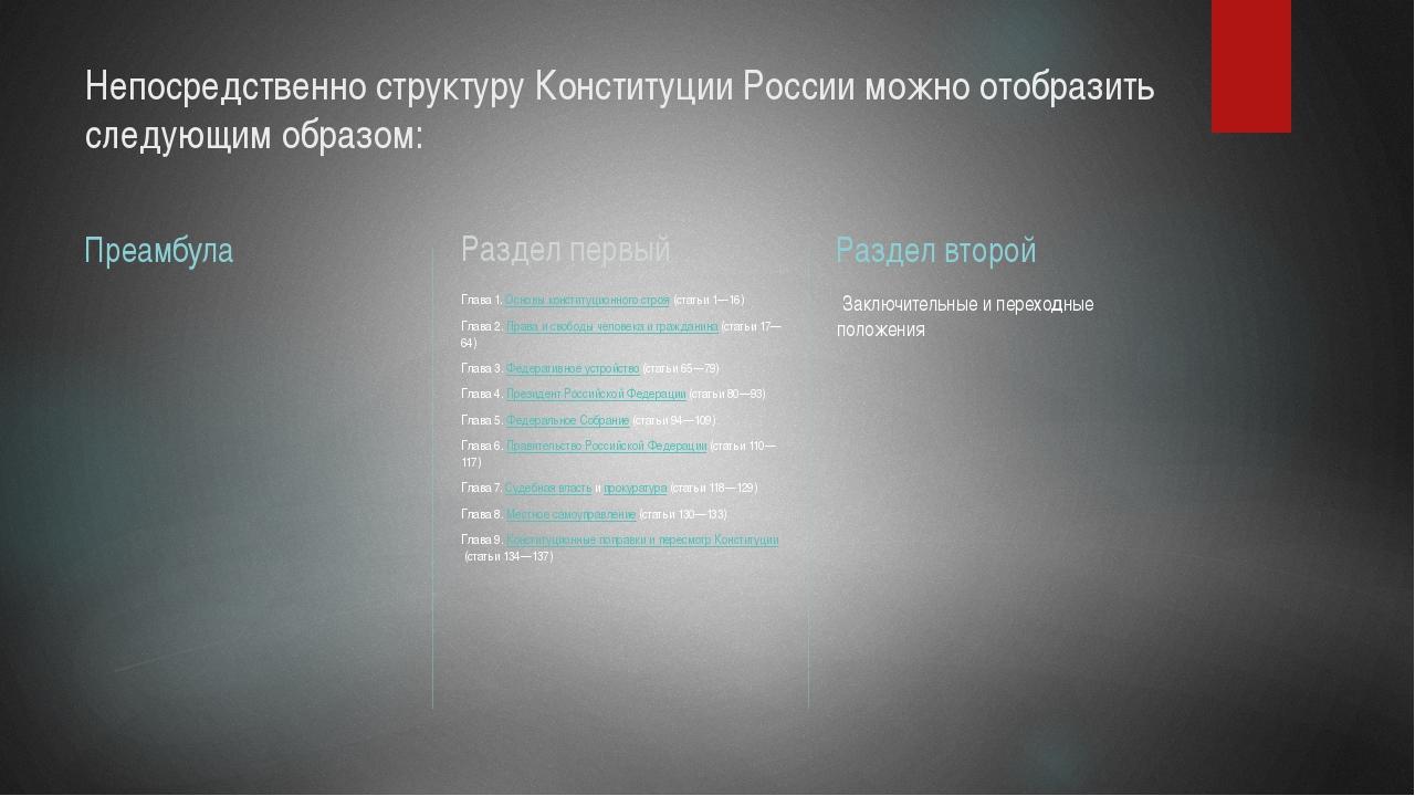 Непосредственно структуру Конституции России можно отобразить следующим образ...