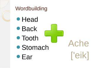 Wordbuilding Head Back Tooth Stomach Ear Ache ['eik]