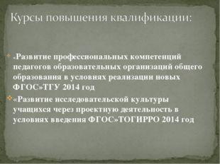 «Развитие профессиональных компетенций педагогов образовательных организаций