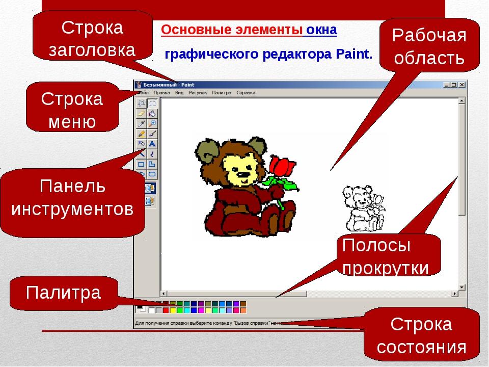 Основные элементы окна графического редактора Paint. Рабочая область Строка с...