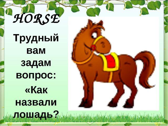 HORSE  Трудный вам задам вопрос: «Как назвали лошадь?» …