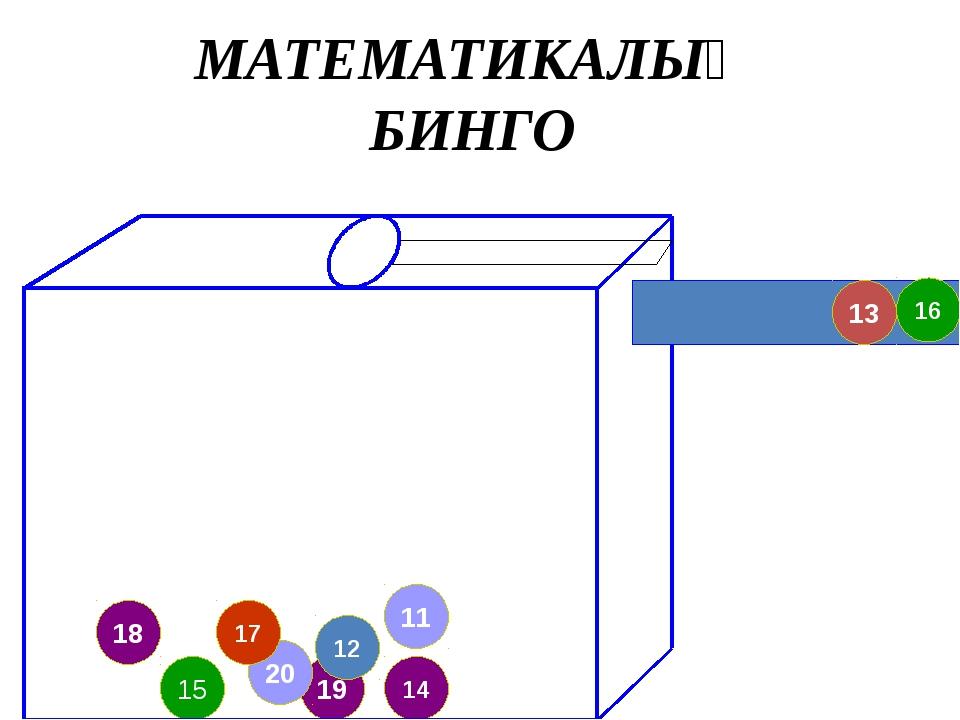 19 20 18 17 11 14 12 15 16 13 МАТЕМАТИКАЛЫҚ БИНГО
