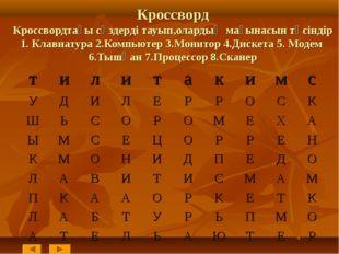 Кроссворд Кроссвордтағы сөздерді тауып,олардың мағынасын түсіндір 1. Клавиат
