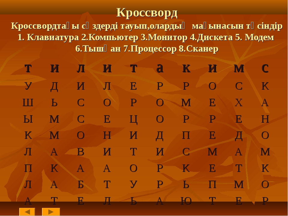 Кроссворд Кроссвордтағы сөздерді тауып,олардың мағынасын түсіндір 1. Клавиат...
