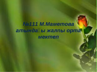 №111 М.Маметова атындағы жалпы орта мектеп
