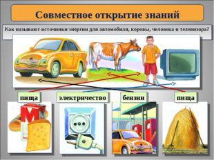 Совместное открытие знаний Как называют источники энергии для автомобиля, кор